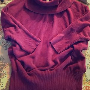 Short sleeve turtleneck sweater lit darker purple